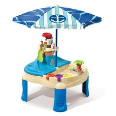 High Seas Adventure Sand Toys and Water Table with Umbrella Your kids can go on their own high-seas sailing adventure right in the backyard! This sand and Water Table With Umbrella, Sand And Water Table, Sand Table, Top Gifts For Boys, Cool Toys For Boys, Birthday Gifts For Boys, Kids Sandbox, Sand Toys, Adventure Of The Seas