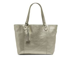 the #jackrogers piedmont leather tote is classic, yet elegant, and the roomy shape will fit everything you need for a busy day. shown in platinum.