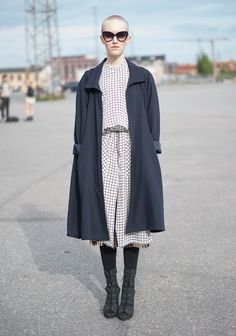 """Piia, 24 // """"I'm wearing a skirt and a shirt from my own Piia Emilia collection, and a Weekday copper skirt and heels. Nowadays I'm leaning more and more towards monochromatic, comfortable outfits. I am desperately looking forward for the warmer weather, bare legs and ditching the winter layers."""""""