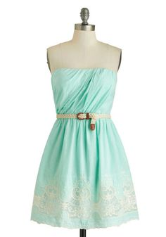 Beach Boutique Dress - Blue, White, Belted, Ruching, Casual, A-line, Strapless, Cotton, Embroidery, Braided, Daytime Party, Pastel