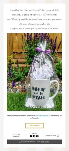 """Check out our """"Wake Up and Be Awesome"""" mug and soap set! Wake Up, Gift Tags, Teacher, Soap, Messages, Mugs, Children, Awesome, Check"""