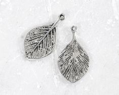 1820_Pendant 27х15 mm, Silver pendant, Leaf pendant, Antique silver pendant, Leaves pendant, Silver findings,Metal pendant for jewelry_14pcs
