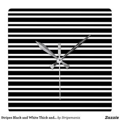 Stripes Black and White Thick and Thin Square Wall Clock