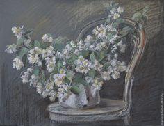 Купить Картина пастелью Жасминовая кипень - белый, жасмин, натюрморт с цветами, летний натюрморт