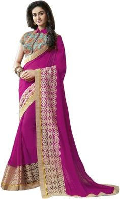 a1697f0cdd505 Kamelasaree Embroidered Bollywood Georgette Saree(Pink) Embroidery Saree