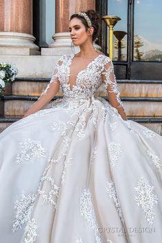 crystal design 2017 bridal long sleeves deep plunging v neck full embellishment bodice princess sexy ball gown a line wedding dress keyhole back monarch train (chantale) zv