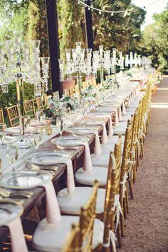Long elegant table: http://www.stylemepretty.com/texas-weddings/austin/2015/01/06/glamorous-austin-spring-wedding-2/   Photography: SMS - http://smsphotography.com/