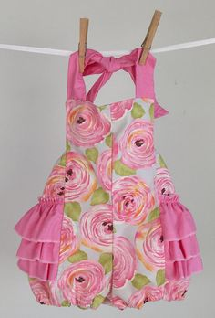 219047a4e Pink and Orange Floral Ruffled Romper, Pink Ruffled Romper, Orange Toddler  Romper, Ruffled