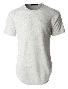 LE3NO Mens Hipster Hip Hop Longline Short Sleeve Crewneck T Shirt