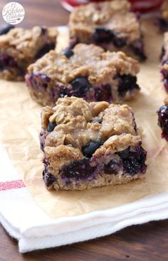 Healthy Blueberry Oat Snack Bars Recipe from A Kitchen Addiction: