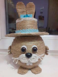 Twine Crafts, Craft Stick Crafts, Paper Crafts, Diy Crafts, Bunny Crafts, Easter Crafts For Kids, Diy For Kids, Handmade Home Decor, Handmade Decorations