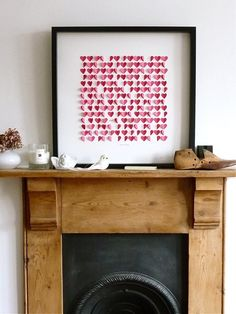 Art with paper hearts. Happy Valentines Day!