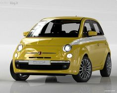 Yellow Fiat 500 Lounge with premium wheels