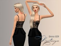 A dress from the collection of fashion designer Sue Wong. A new mesh (mine) and custom thumbnail. Found in TSR Category 'Sims 4 Female Everyday' Sims 4 Clothing, Female Clothing, Sue Wong, Sims 4 Cas, Sims 4 Update, Sims 4 Custom Content, Dress Outfits, Dresses, Peplum Dress