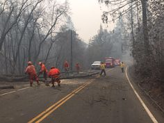 A crew from #SanDiego clears a fallen tree from Hwy 175 near Cobb, Calif on the @CAL_FIRE #ValleyFire (Lake County)