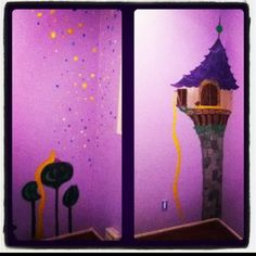 Tangled inspired wall art my sister and I did for our nieces new room!