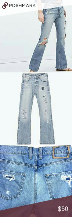 """Zara Collection 70's Flare Jeans One of the most loved pair of jeans! Sold out quickly.  New with Zara tag still attached. Inseam 33"""".  Size 2. Flare leg,  distressed faded look.  Smoke and pet free home. Ships within one day. Zara Jeans Flare & Wide Leg"""