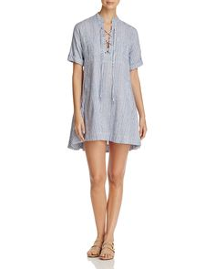 4OUR DREAMERS Lace-Up Stripe Shirt Dress