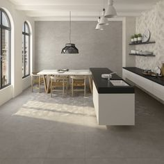 Kitchen | cocina | Fulson Sombra - Walton Sombra - Gilmore Sombra - Doit Gris  | contemporary home | home inspiration | Arcana Tiles | Arcana Ceramica Ceramic Floor Tiles, Tile Floor, Style Tile, Interior Design, Interior Ideas, Relax, Minimalist, Flooring, Contemporary