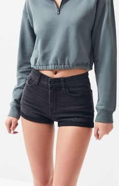 Dark Night Denim Shortie Shorts shorts/rompers kind of life # Denim Skirt Outfits, Denim Outfit, Black Denim Skirt Outfit Summer, Black Jean Shorts, Short Outfits, Cute Outfits, Trendy Swimwear, Mode Streetwear, Skinny Girls