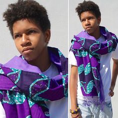 Sekondi in brilliant purple and blue comes in lavender in the larger lighter weight scarves for spring and summer! Available at http://www.nanayawdesigns.com/