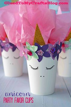 DIY Unicorn Party Favor Cups - Birthday Party - Valentine's Day - Unicorn Kid Craft