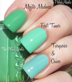 Essie First Timer vs. Essie Turquoise and Caicos vs Essie Mojito Madness