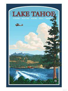 Lake Tahoe, Nevada vintage travel poster, USA