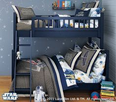 i like the blue and gray . . . and the stars on the walls.  Would go great with his Star Wars Lego collection.