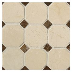 Complete Tile Collection Mosaic Tile Patterns, Octagon with Dot Mosaic, MI#: 111-S2-400-173, Color: Crema Marfil with Kingsley Dark Dot
