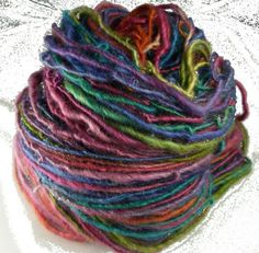 Hand dyed, Hand Spun, Border leicester Yarn by dancingleaffarm on @Etsy