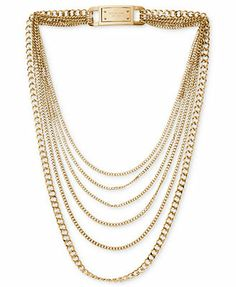 Michael Kors Gold-Tone Layered Chain Necklace