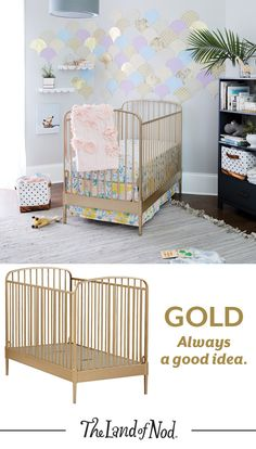 Expecting a new bundle of joy? Then we bet you're also looking for the perfect baby crib for the nursery. The Land of Nod's exclusive Gold Larkin Crib is versatile enough for any girl or boy's nursery. Plus, the gold metal design will add an elegant touch to baby's space. Our collection of nursery furniture is constructed from quality materials in modern and classic styles. Just don't forget to finish the nursery with super cozy crib bedding.