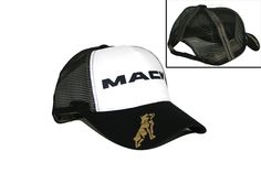 Mack Truck Merchandise - Mack Truck Hats - Mack Trucks Black & White Mesh Snapback Trucker Hat