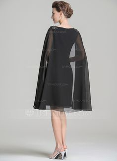 Sheath/Column Scoop Neck Knee-Length Chiffon Mother of the Bride Dress With Beading Appliques Lace Sequins (008072699)
