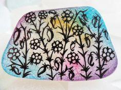 Wildflower silhouette miniature art on English sea pottery by Alienstoatdesigns, $25.00