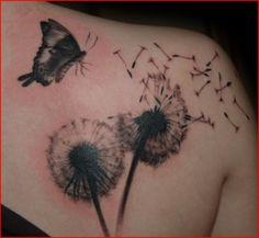 Tattoo-Foto: Pusteblume und Schmetterling auf Schulter