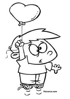 cocuklu-kalpli-balonlu-kolay-boyama-sayfalari