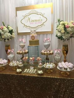 Glamour baby shower party dessert table! See more party ideas at CatchMyParty.com!