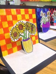 The Colorful Art Palette: Vincent Van Gogh inspired pop-up sunflower art