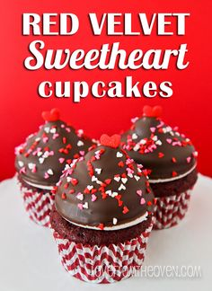 Red Velvet Sweetheart Cupcakes by Love From the Oven