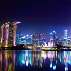 Preference of interior designers, Night reflections Marina Bay Sands Hotel Singapore, wall mural. Sands Hotel Singapore, Singapore City, Visit Singapore, Singapore Travel, Singapore Business, Singapore Malaysia, Marina Bay Sands, National Geographic, Innovative City