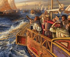 The fleet of the Vandals Geiseric crosses the Mediterranean Sea in the march on Rome. Ancient Rome, Ancient History, Fall Of Constantinople, Punic Wars, Hellenistic Period, Medieval World, Remo, Historical Artifacts, Historical Pictures