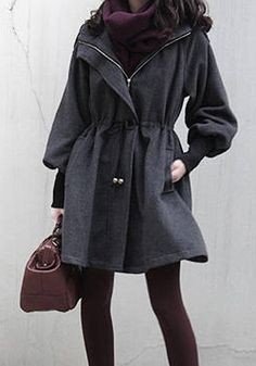 347a83d3a6ad1 New Womens Slim Wool Trench Coat Parka Jacket Black Outerwear