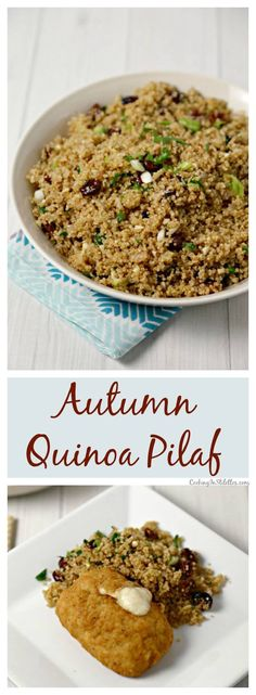 A fluffy fall inspired Autumn Quinoa Pilaf is the perfect side dish filled with tart Granny Smith apples, dried cranberries, cherries and fresh thyme.