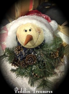 One of my creations. Snowman head peeking out of a Santa hat..