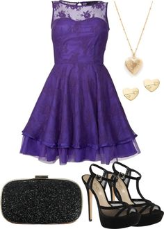 """Purple Dress"" by stylewiktoria ❤ liked on Polyvore"