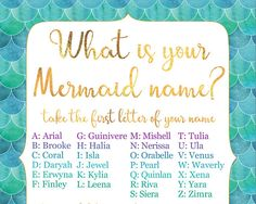 This pretty watercolor and gold mermaid party poster is fun game for a mermaid birthday party! Get ready to discover your mermaid name, and a beautiful name for each guest! The What is your mermaid name? birthday party poster features a faux gold foil calligraphy font, and blue,