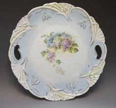 Antique Victorian Cake Plate Purple Lilacs Flowers Scalloped Porcelain Blue  #Victorian