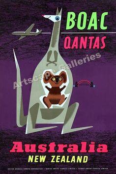 Australia - New Zealand 1950's Travel Poster - 20x30   eBay
